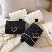 鍊條包ins超火小包包女新款韓版洋氣小方包時尚菱格鍊條單肩斜背包 1件免運