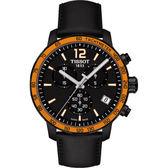 TISSOT運動風三眼計時腕錶皮帶款T0954173605701