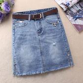 半身裙18夏季韓版新款彈力牛仔裙短裙A字型開叉包臀裙一步裙顯瘦  Cocoa