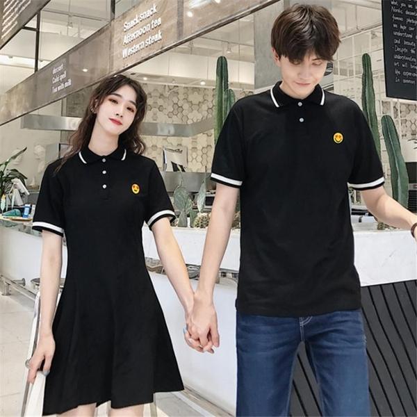 情侣装 小眾設計感情侶裝夏裝2020新款韓版寬鬆polo短袖T恤氣質女洋裝