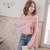 東京著衣【YOCO】甜美小性感多色波浪一字領針織上衣-S.M.L(171982)