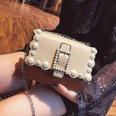 包包女2018夏新款潮女包韓版百搭鍊條小包珍珠ins超火單肩斜背包 至簡元素