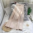 針織半身裙秋冬女中長款高腰a字傘裙2020年新款春秋季百褶長裙子 萬聖節