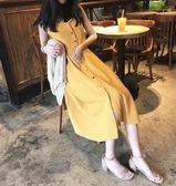 Chic單排扣溫柔風吊帶裙修身顯瘦連衣裙女夏黃色長裙子