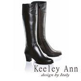★零碼出清★Keeley Ann美感壓紋~拼接蛇紋造型真皮中跟長靴(咖啡色)