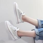帆布鞋女學生韓版小白鞋夏季新款透氣平底板鞋百搭洋氣鏤空潮CY潮流