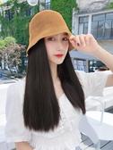 假髮帽子薄款漁夫帽假髮一體女夏天遮陽防曬太陽帽網紅時尚帶髮帽子短直髮 韓國時尚週