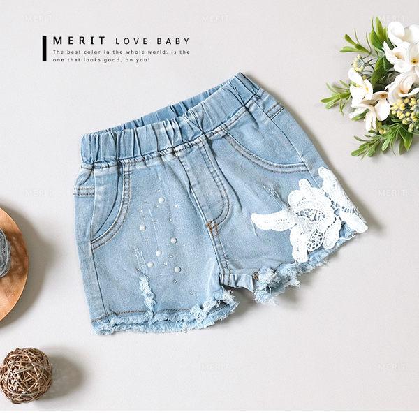 甜美珍珠蕾絲花朵抓破抽鬚牛仔褲 短褲 丹寧褲 率性 哎北比童裝
