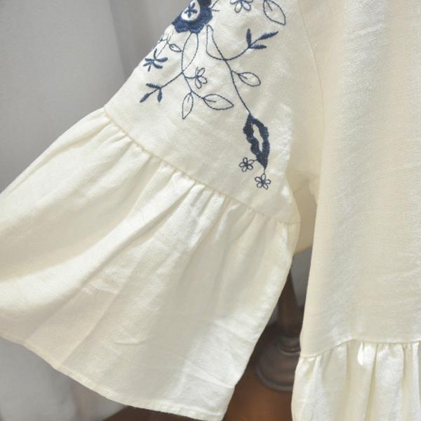 L五分袖洋裝  繞領刺繡條紋-月兒的綺麗莊園