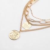 合金項鍊-多層硬幣吊牌女鎖骨鍊73uz1【時尚巴黎】