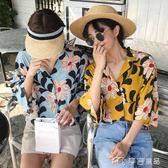 夏裝女裝韓版復古V領大花朵襯衫寬鬆顯瘦短袖休閒學生襯衣上衣潮      麥吉良品