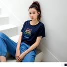 《AB13364-》一周彩虹心情印花圖示高含棉T恤上衣 OB嚴選