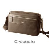Crocodile Wind 系列皮配布橫式斜背包(L)0104-6003