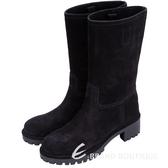 PRADA 麂絨面小牛皮中筒靴(黑色) 1510553-01