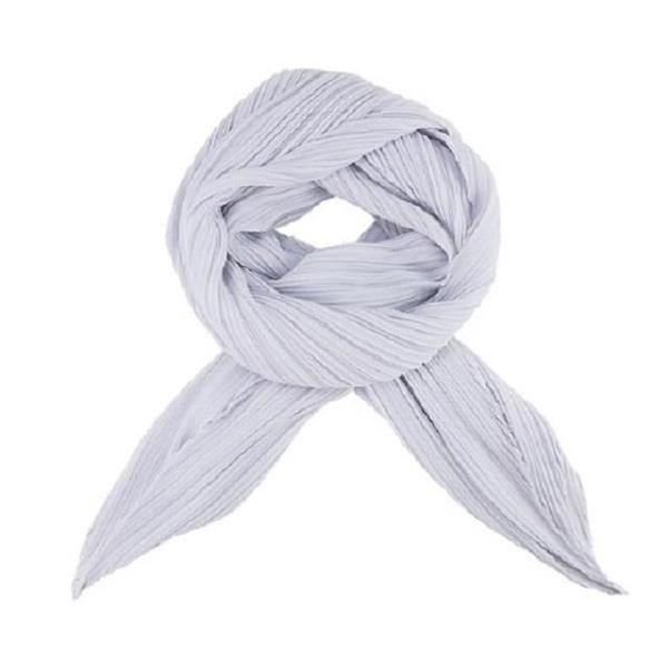 【南紡購物中心】ISSEY MIYAKE 三宅一生 PLEATS PLEASE 四摺素面斜紋圍巾-灰白