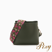 Pixy 波希米亞刺繡寬背帶斜背包 質感墨綠