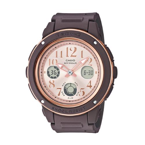 CASIO手錶專賣店 BABY-G BGA-150PG-5B1 秋雅機能雙顯錶 橡膠錶帶 咖啡色 防水100米 BGA-150PG