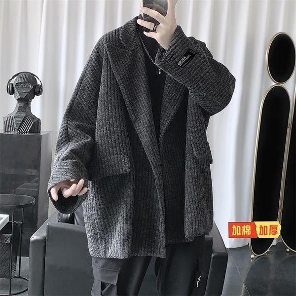 風衣 冬季男士妮子外套正韓潮流短款黑色風衣帥氣港風加厚毛呢大衣【快速出貨】