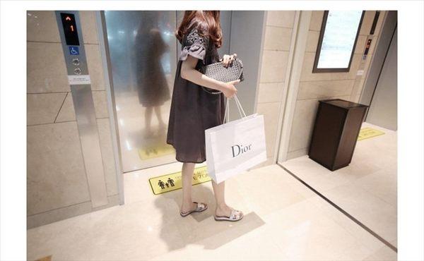 漂亮小媽咪 氣質花邊洋裝 【D1909】 布蕾絲 拼接 喇叭袖 短袖洋裝 棉麻 孕婦裝 娃娃裝