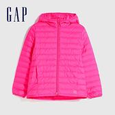 Gap女童 甜美印花輕薄款拉鍊連帽羽絨服 593435-紫紅色