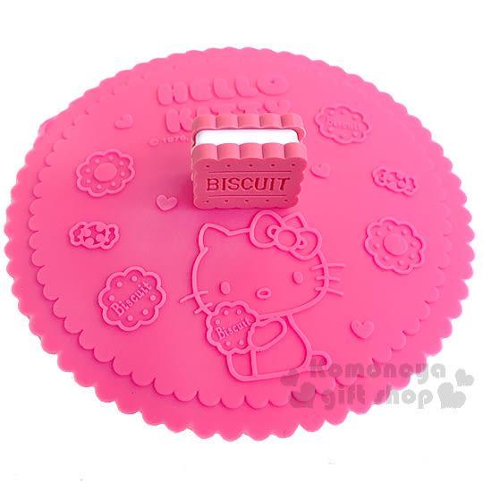 〔小禮堂〕Hello Kitty 造型矽膠杯蓋《桃紅.夾心餅乾.坐姿.糖果》可愛又實用 4718733-20743