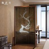 屏風 新中式實木隔斷客廳臥室入戶玄關北歐現代半透明紗畫裝飾座屏