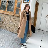 中大尺碼 長版開叉風衣外套 - 適XL~4L《 69066 》CC-GIRL