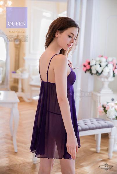 大尺碼Annabery深紫柔紗短版不規則二件式睡衣  SEXYBABY 性感寶貝 NY16020056