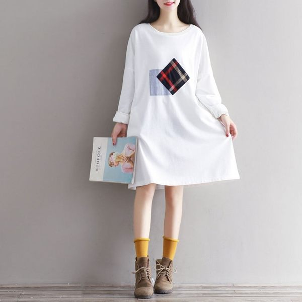 東京奈奈日系長袖貼布白色連身裙[j61021]