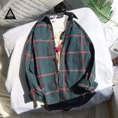 襯衫外套男士休閒百搭2018新款原宿風上衣韓版學生寬鬆bf格子襯衫男女長袖外套