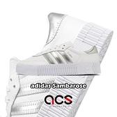 【海外限定】adidas 休閒鞋 Sambarose W 白 銀 小白鞋 愛迪達 三葉草 女鞋 厚底 增高 【ACS】 EE9017