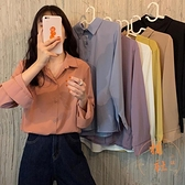襯衫女純色上衣寬鬆長袖外穿休閒百搭顯瘦襯衣【橘社小鎮】