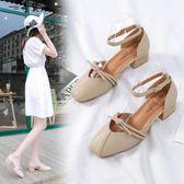 chic鞋子復古涼中跟粗跟仙女鞋