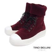 Tino Bellini皮革MIX毛線綁帶厚底休閒靴_ 酒紅 B69054