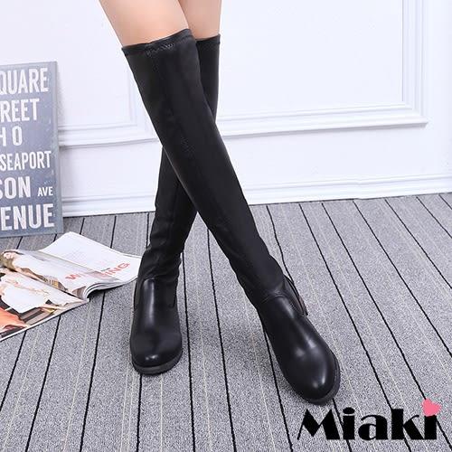 過膝靴.韓國時尚皮質低跟長靴