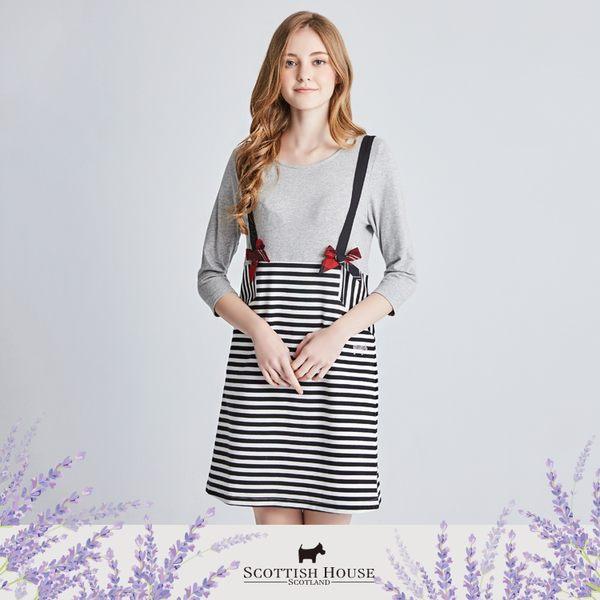 假兩件式條紋吊帶裙七分袖洋裝 Scottish House【AI3155】