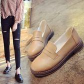 女鞋夏季單鞋學生百搭韓版復古平底樂福鞋黑色小皮鞋女英倫學院風