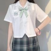 JK制服襯衫 jk制服原創學院風可愛新款刺繡開襟短袖白襯衫女夏款 JX2135