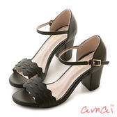 amai《12星座 - Cancer巨蟹座》浪漫花邊一字粗跟繞踝涼鞋 黑