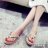 平底拖鞋 新款甜美時尚水鉆人字拖女韓版平底厚底平跟涼拖海邊沙灘鞋
