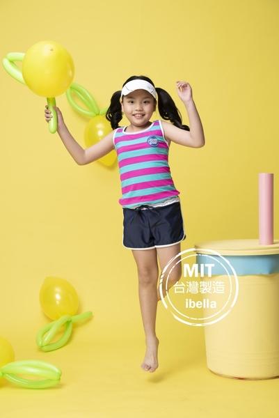 女中童條紋背心泳裝泳褲二件(附帽)現貨台灣製造美國杜邦萊卡【36-66-G-8H20702-21】ibella 艾貝拉
