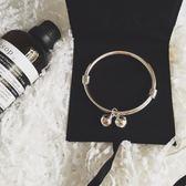手鍊手鐲 韓國925純銀可調節鈴鐺手鐲銀色手鏈手環閨蜜禮物 巴黎春天