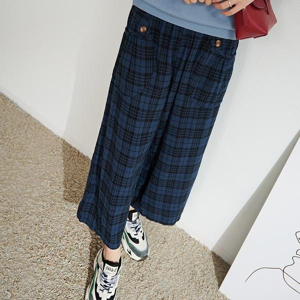 【慢。生活】蘇格紋口袋九分寬褲 11357 FREE藍色