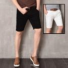 FINDSENSE H1日本 四季款 新款 潮男 純色 黑白牛仔五分褲 彈力修身