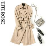 風衣外套 系帶中長款顯瘦氣質秋天大衣通勤OL西裝外套 巴黎春天