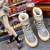 大尺碼女鞋35-43☆ 2019新款百搭優雅舒適柔軟補丁襪靴時裝靴 低跟短靴瘦瘦靴 ~4色