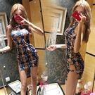 2018夏裝新款改良夜店旗袍復古印花鏤空開叉包臀性感禮服洋裝潮