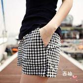 八八折促銷-大尺碼短褲夏季新品棉麻格子短褲鬆緊腰繫帶寬鬆居家休閒大尺碼運動熱褲女