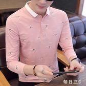 中大尺碼Polo衫 春季新款韓版潮流男士長袖T恤薄款襯衫領打底衫有帶領 FR6464【每日三C】