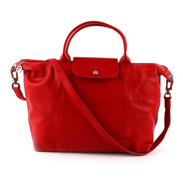 【LONGCHAMP】M號小羊皮二用折疊包(紅色) 1515 737 045
